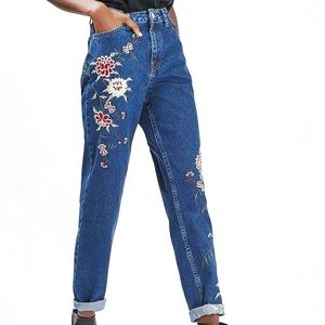 Top Shop mom jeans with chrysanthemum embroidery